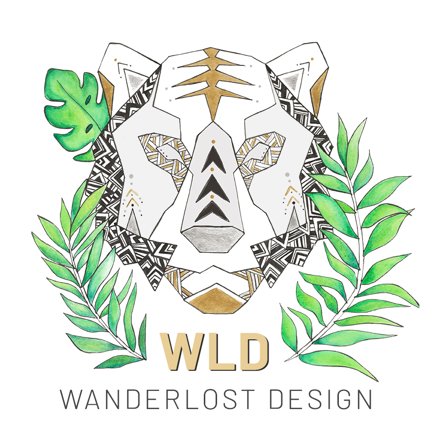 Illustration Logo for Wanderlost Design Etsy shop